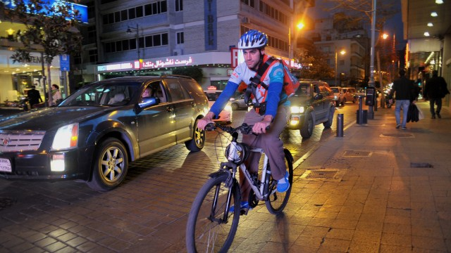 Bike messengers are a new sight on Beirut's streets