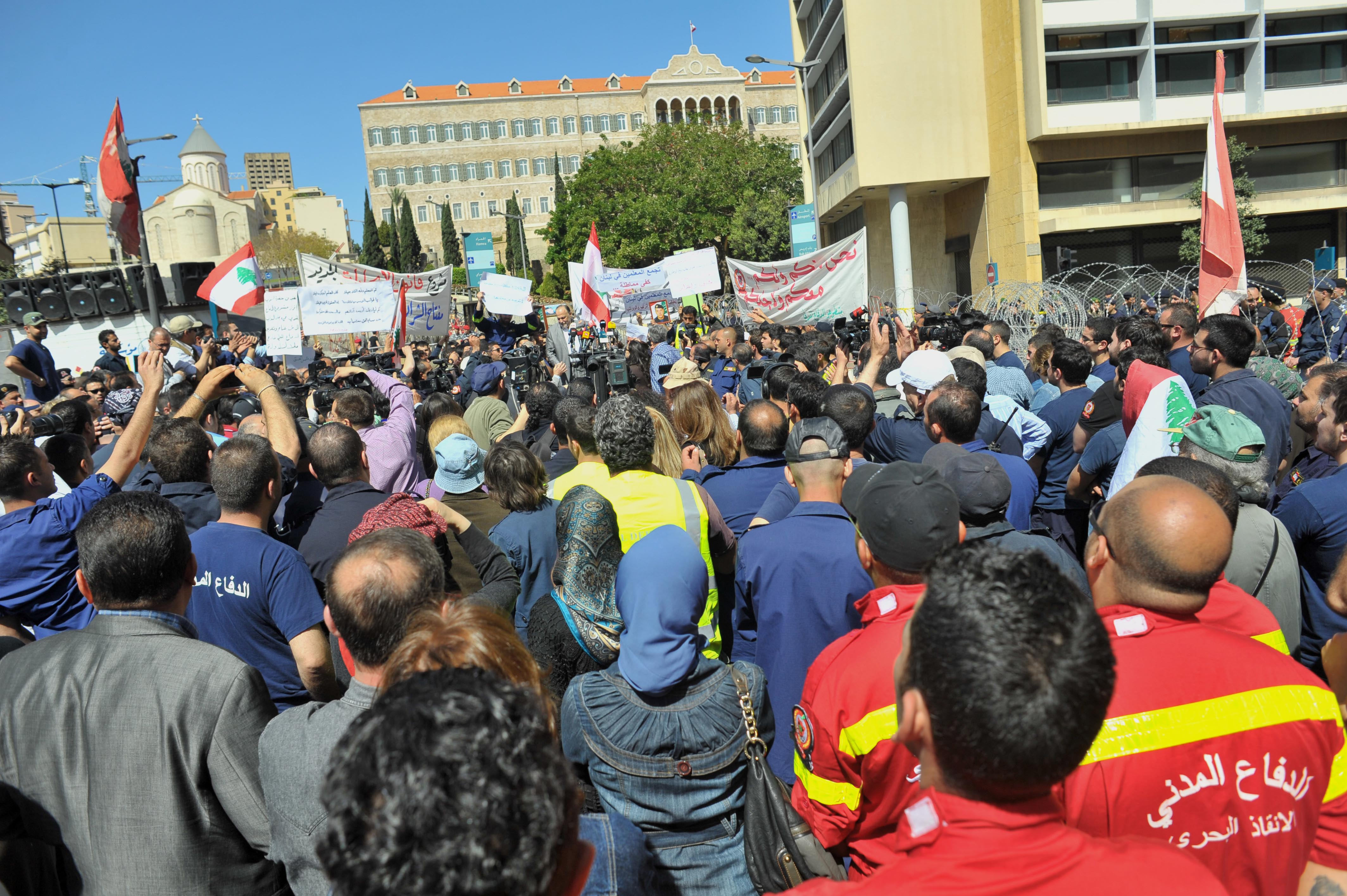 Hundreds of protests marched on Downtown Beirut on Wednesday April 9 2014