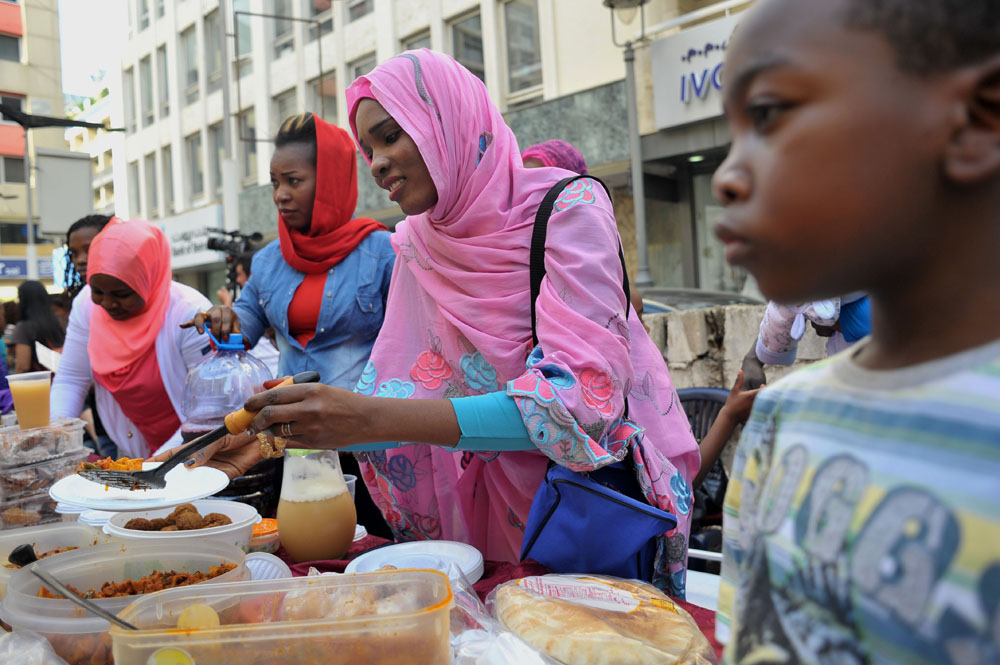 Food is served to passers-by and participants