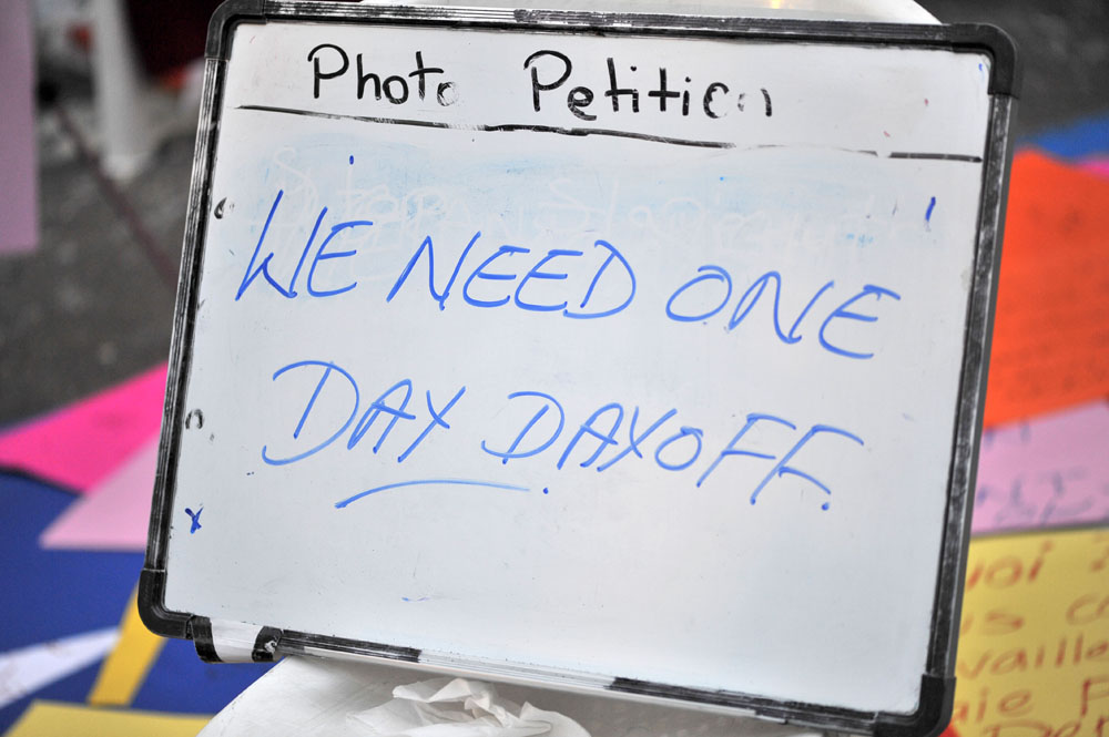 """""""We need one day off"""" - One of the signs prepared for the march on Sunday May 4"""