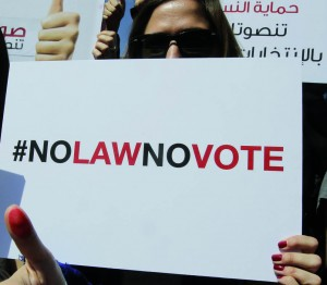 "A protester holds up a sign ""#NoLawNoVote"""