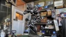 A metallic sculpture