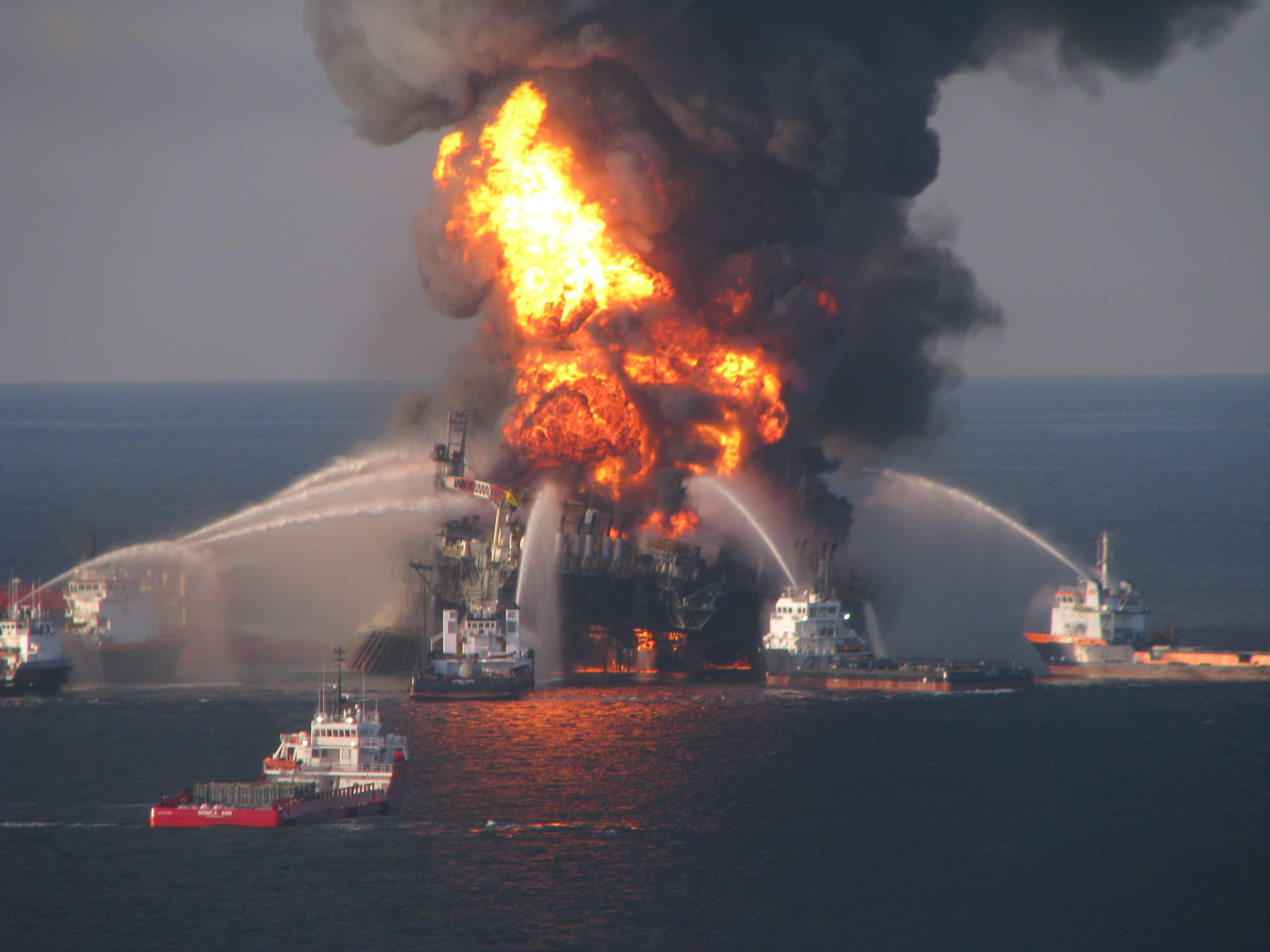 Firefighting ships attempt to put out the fire on BP's Deepwater Horizon drilling unit in the Gulf of Mexico