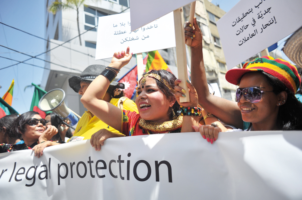 Domestic workers in Lebanon protesting for legal protection