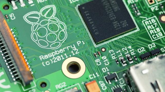 A studio close-up shot of a Raspberry Pi circuit board.
