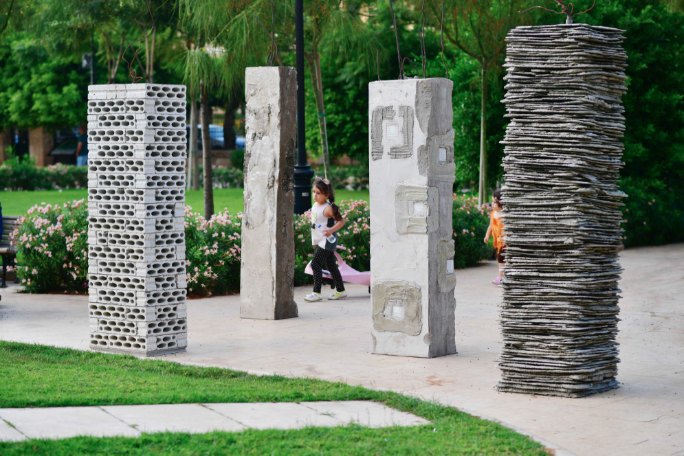 """Lebanese artist Marwan Rechmaoui purposely asked that his concrete and mixed-media """"The Seven Pillars of Wisdom"""" be placed facing Sanayeh's permanent Ottoman monument 