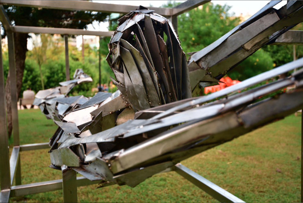 Mustafa Ali of Syria made this sculpture from scrap metal from his war-torn country