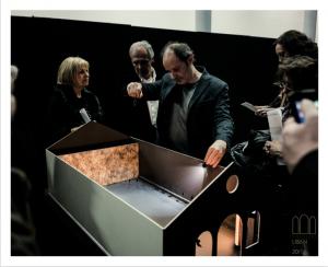 Curator Emmanuel Dayde and Zad Moultaka presenting the SamaS model